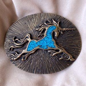Vintage Unicorn w/Turquoise Chip Inlay Belt Buckle